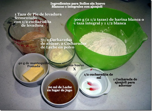Ingredientes para Bollos sin huevo Blancos o integrales con ajonjol