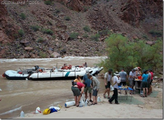 Lunch at Lower Tuna camp ~RM100.1 Colorado River trip Grand Canyon National Park Arizona