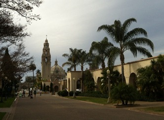 warm cloudy day in Balboa park