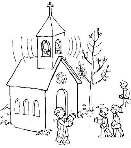 Ciudad con iglesia colorear
