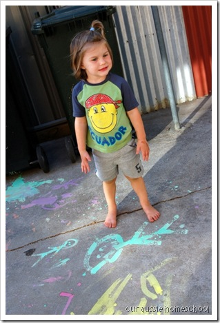 Sidwalk Paint ~ Our Aussie Homeschool