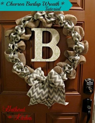 chevron burlap wreath