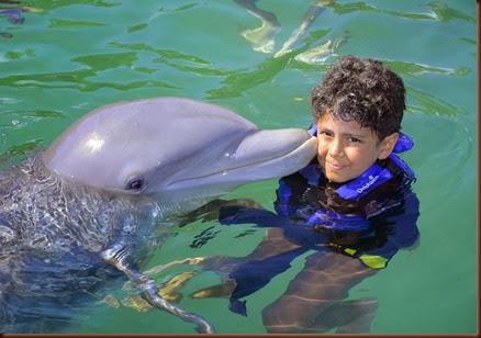 Mergulhando com golfinhos em Xel Ha, México