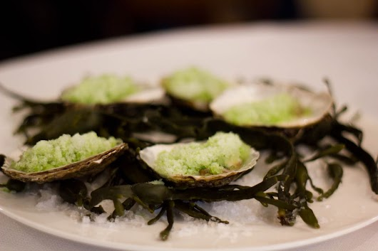 Rå østers med agurkegranite på AOC