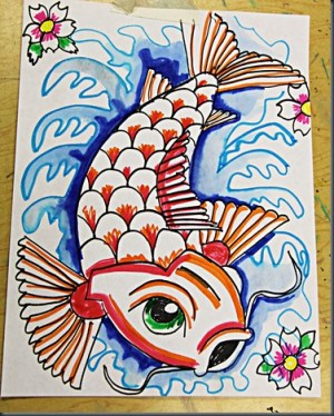 fish koi markers drawing painting drawings paintings water plain marker draw simple things class watercolor coy projects lesson smart culture