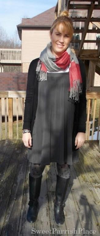 Grey Dreess, plaid scarf, polka dot tights