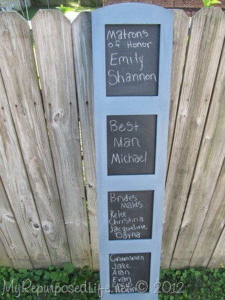 My Repurposed Life-chalkboard display-great idea for a wedding