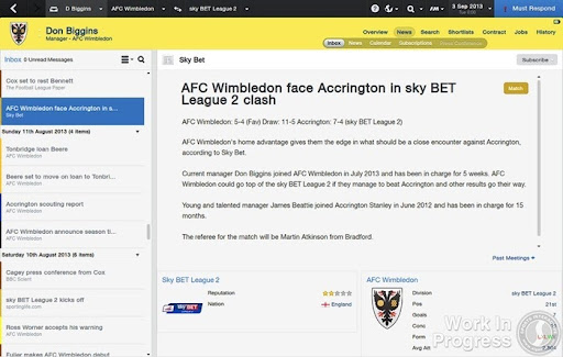 FM 2014 News - Match Preview