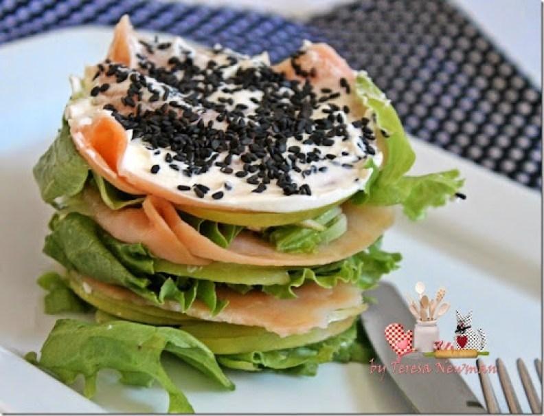 Salada de Salmão com cream cheese