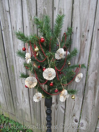 repurposed Christmas Tree & spindle