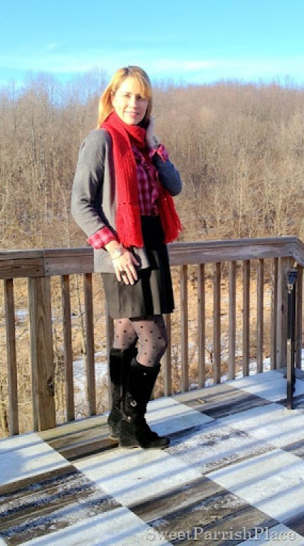 winter skirt outfit