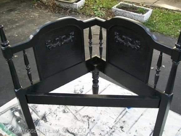 corner bench from a queen headboard