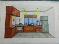 One point perspective - kitchen