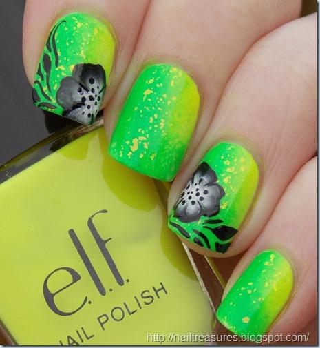 nail treasures neon black