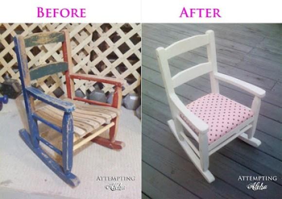 vintage child's rocking chair white