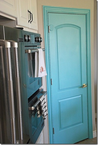 turquoise pantry door from the side