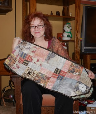 and a table runner with steampunk fabric for Melody