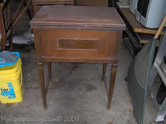 thrift store sewing machine cabinet - Vintage Sewing Cabinet Now A Cute Side Table - My Repurposed Life®