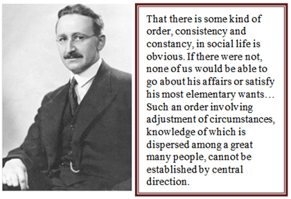 Hayek on the importance of the spontaneous order of the market ...