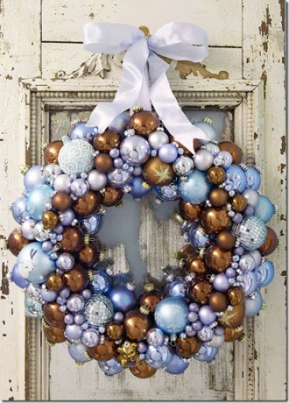 Winter wreaths--brown and blue ornament wreath featured on Remodelaholic.com