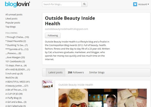 Bloglovin Outside Beauty Inside Health