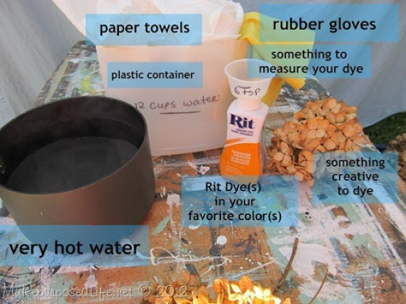 supplies for dying with Rit Liquid