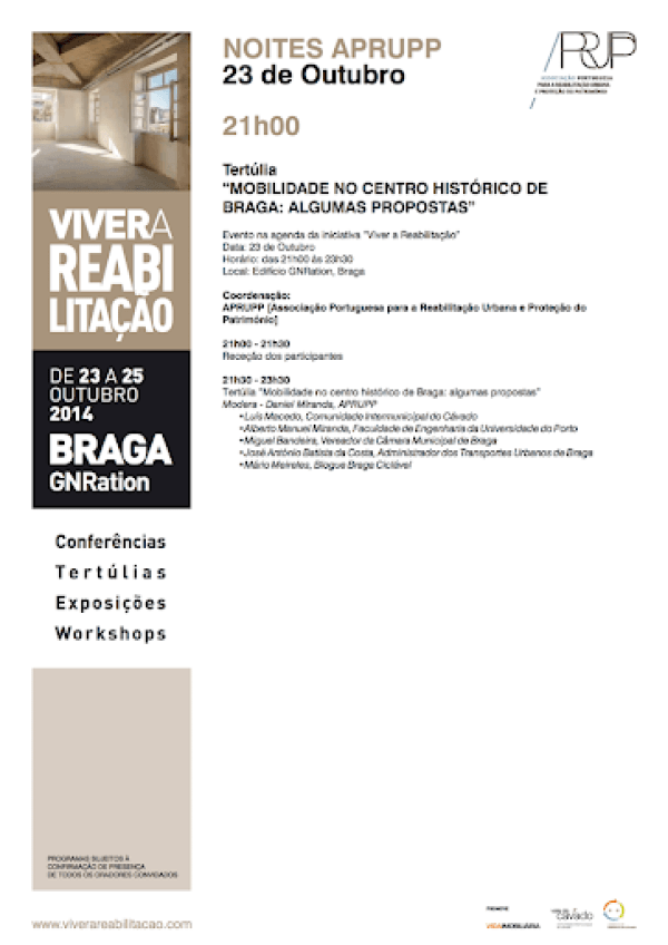 Programa da Tertúlia sobre Mobilidade no Centro Histórico de Braga