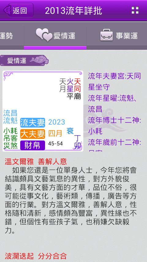 紫微斗數-算命 八字 紫薇 占卜 運程 開運 2015年運勢 - Google Play の Android アプリ