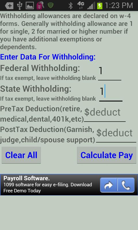 bi weekly tax withholding calculator