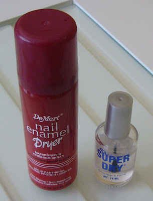 Quick dry nail polish spray by DeMert and Super Dry top coat by Diamond Cosmetics