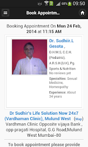 Dr Sudhiir Gesota Appointments screenshot 2