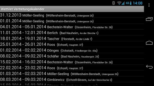 Veterinary backup calendar screenshot 5