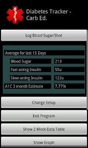 Diabetes Tracker Carb Ed. screenshot 0