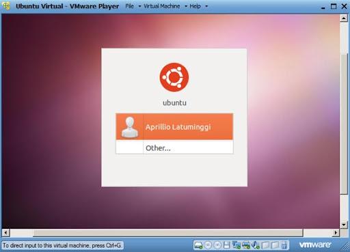 Tampilan untuk login ke dalam Ubuntu yang telah selesai terinstal