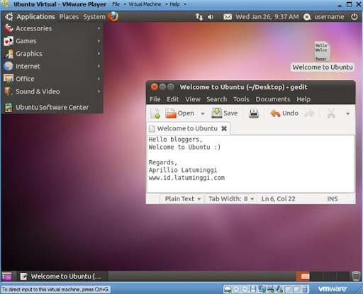 Tampilan desktop Ubuntu virtual machine pada VMware