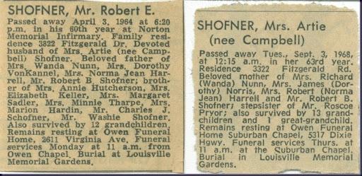 Robert and Artie Shofner Obits