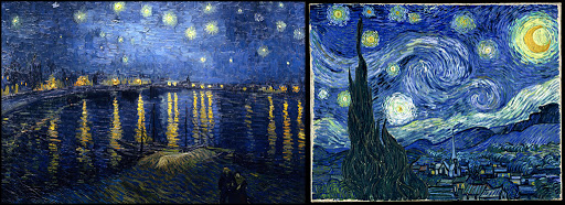 Two different Starry Night Paintings by Vincent Van Gogh