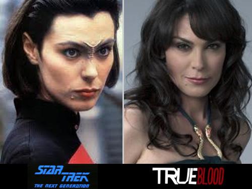 Two headshots of actor Michelle Forbes - (left) in Star Fleet uniform as Bajorran Ensign Ro in Star Trek:Next Generation (right) in a draped slinky dress as maenad Maryann Forrester in True Blood