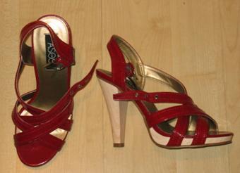 ASOS Deep Red Strappy Platform Heeled Sandals