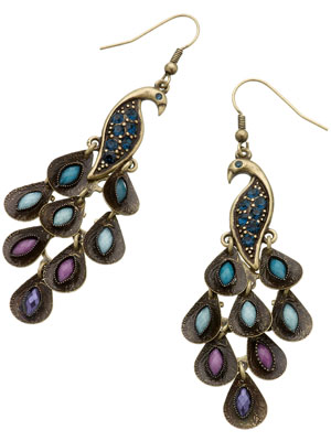 Retro Peacock Earrings by Accessorize