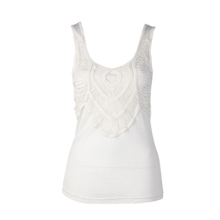 White Crochet Embellished Vest Top by Louche at Joy