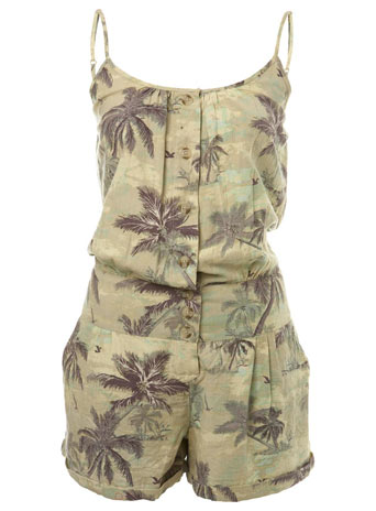 Casual Palm Print Playsuit by Miss Selfridge