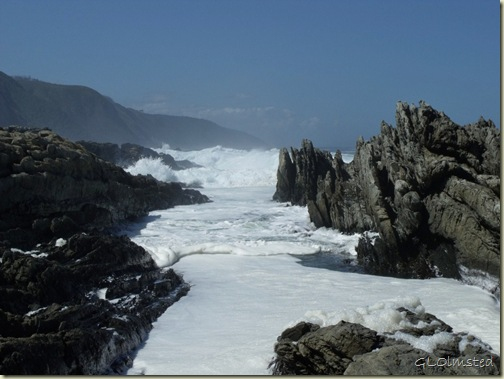 Waves crashing George's Bay into Indian Ocean Tsitsikamma National Park Stormsriver Mouth Eastern Cape South Africa