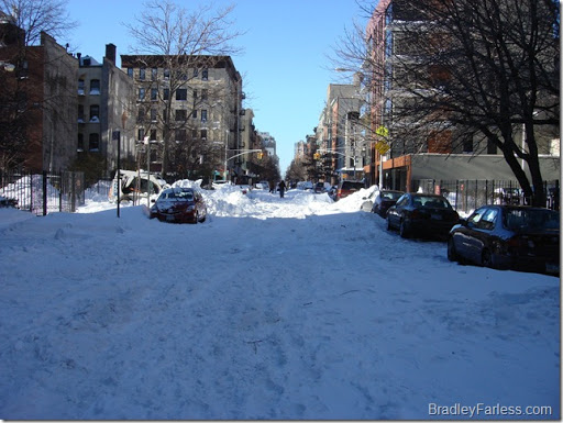 13th Street and Avenue B covered in snow.