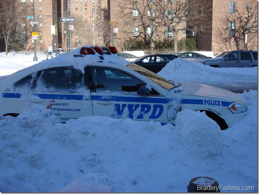 An NYPD cruiser that got stuck in the snow.
