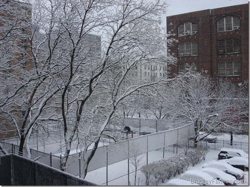 A photo of the snow from our balcony.