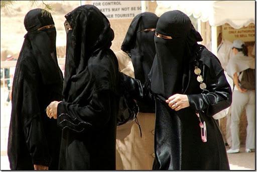 Women wearing the niqab.