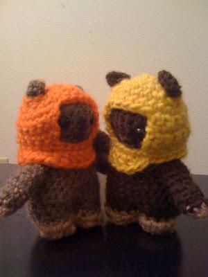 Ewok amigurumi aka crocheted ewoks.