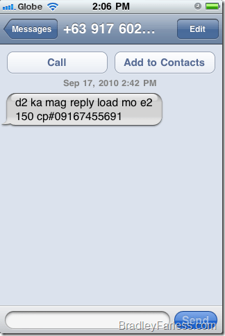 Example of a phone scam in the Philippines.