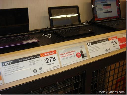Laptop prices at a Super Walmart.